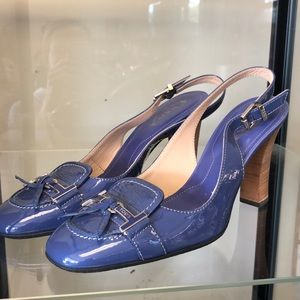 Tod's Heels Blue Patent Leather Heels